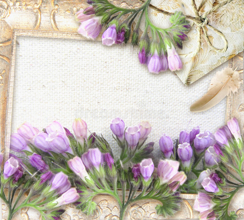 Kwitnie powitanie retro kartę z miejscem dla twój teksta ilustracji