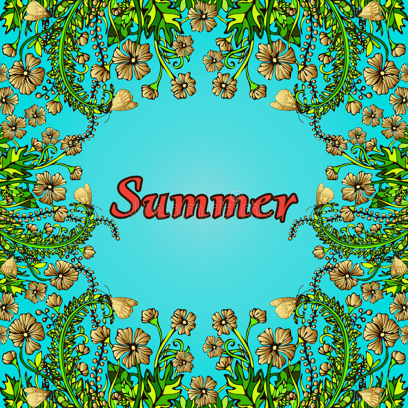 Kwitnie ramę, złoto granica, karta, lato ornament w stylowym boho szyku, hipis Abstrakcjonistyczny złoto kwitnie na błękitnym tle ilustracji