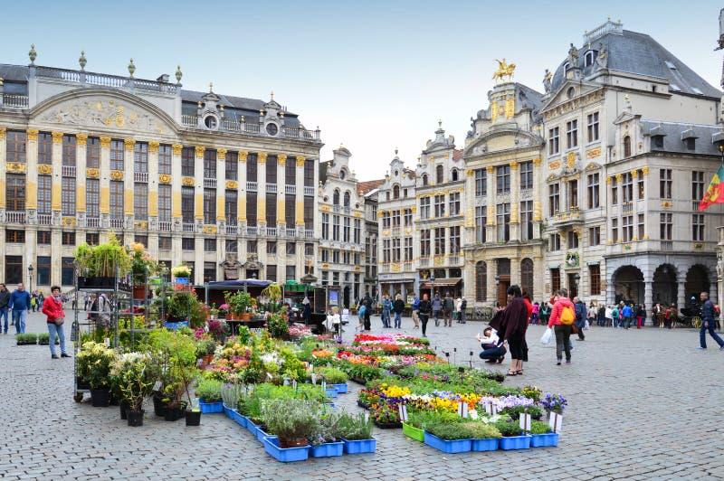 Kwitnie rynek i zasadza przy Uroczystym miejscem, Brukselski miasto, Belgia obraz royalty free