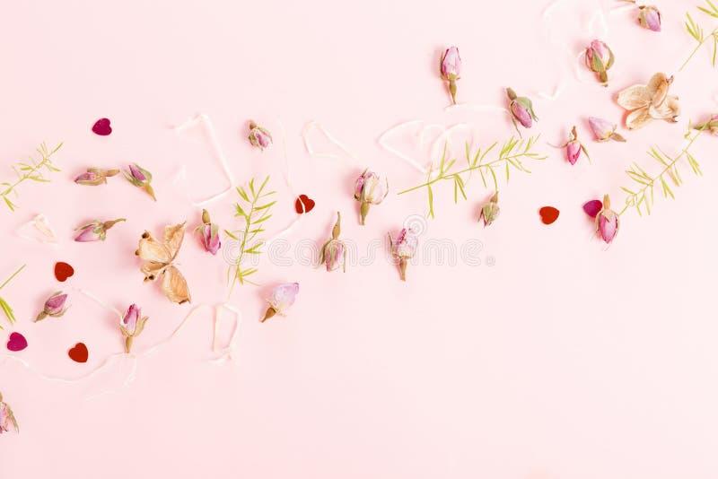 Kwitnie skład Rama robić wysuszony wzrastał kwiaty na różowym tle obraz stock