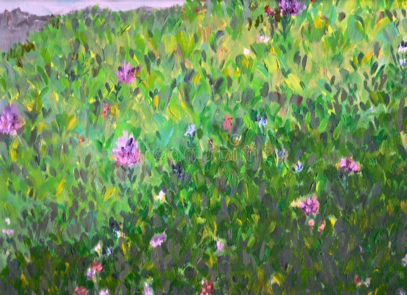 kwitnie trawy zieleni łąkę ilustracji