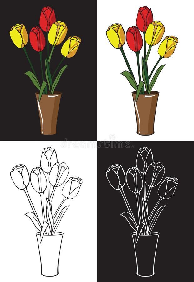 kwitnie tulipany wazowych royalty ilustracja
