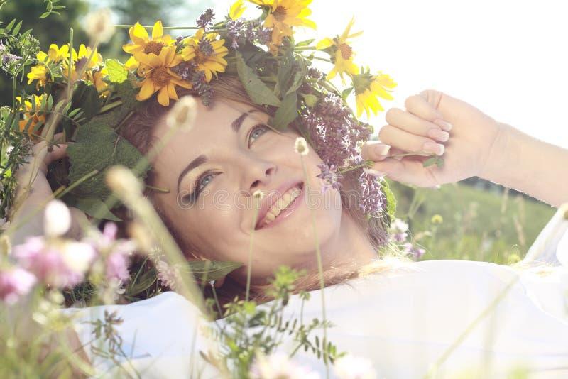 kwitnie włosianej kobiety zdjęcie stock