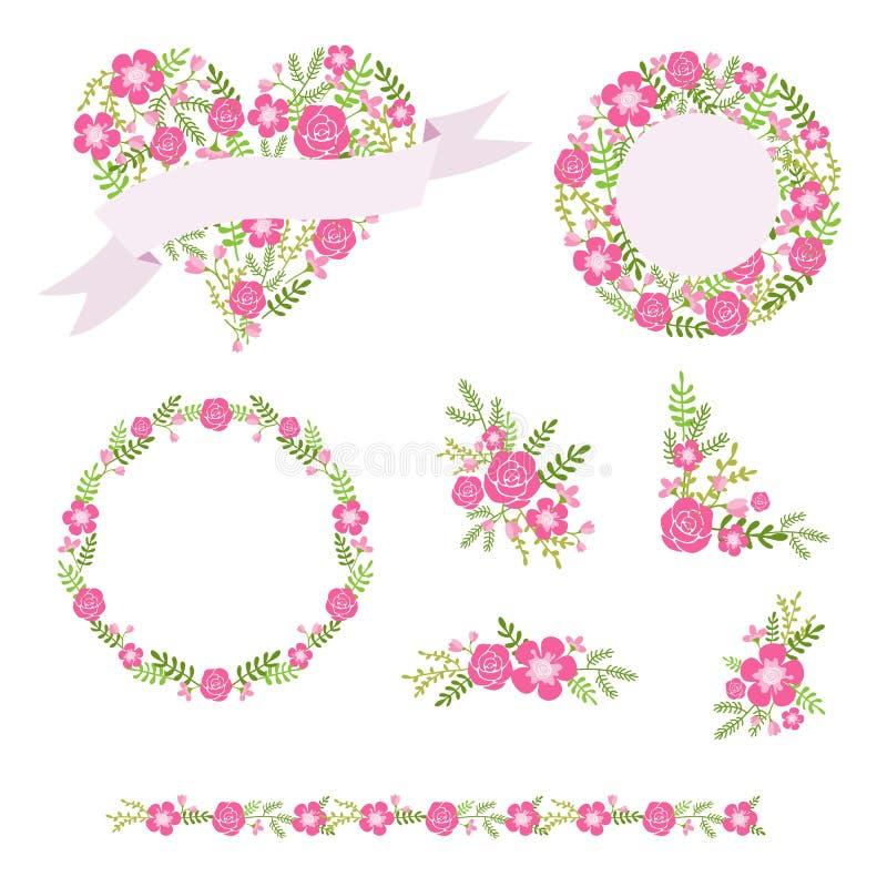 Kwitnie wianki i bukiety, ślubny graficzny wektoru set ilustracji