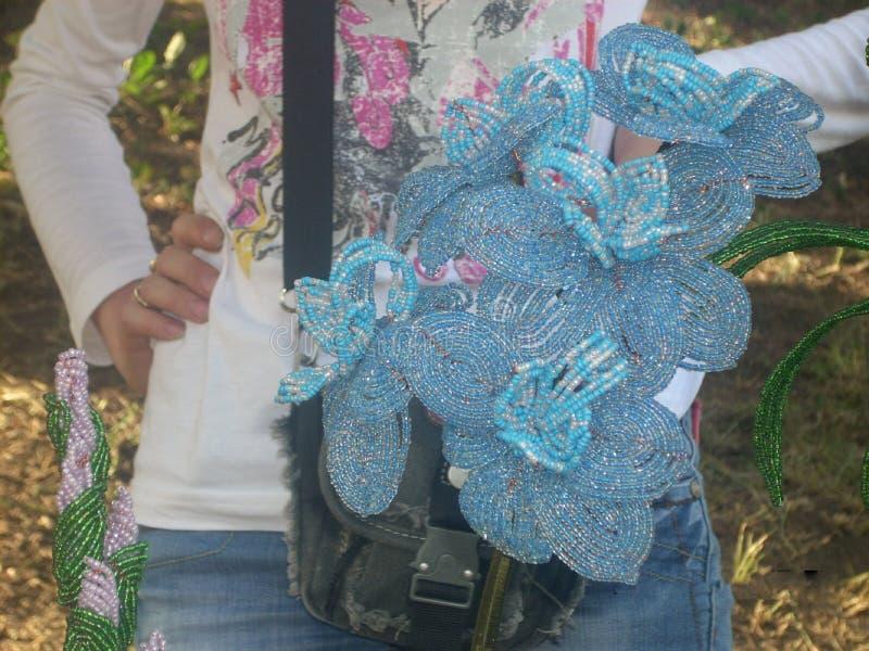 Kwitnie z paciorkami sztuka koralika obraz stock