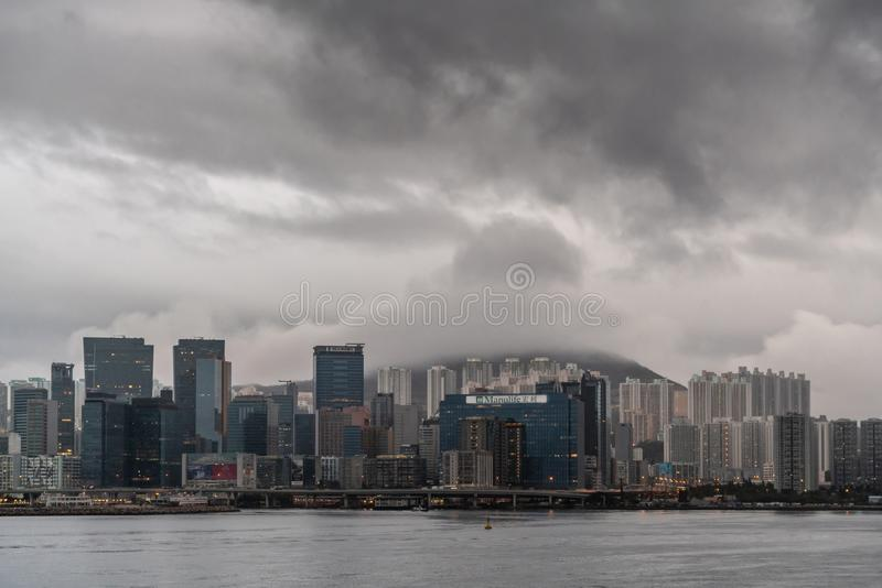 Kwun Tong linia horyzontu wczesny poranek, Hong Kong Chiny zdjęcie royalty free