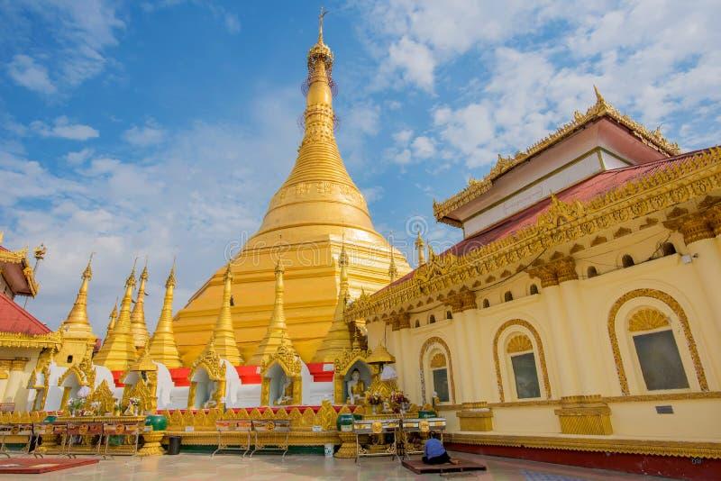 Kyaik Tan Lan老Moulmein塔 这座塔是最高的结构在毛淡棉,缅甸 免版税库存图片