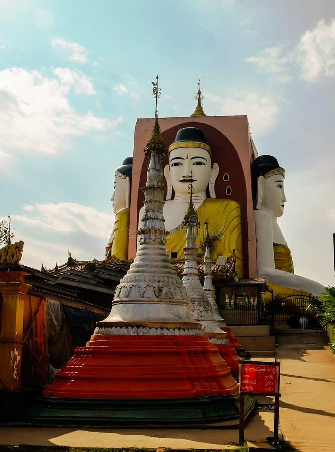Kyaikpun pagod, fyra Buddhabilder, Bago Myanmar royaltyfri fotografi