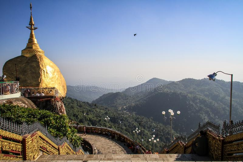 Kyaiktiyo Pagoda also known as Golden Rock under the midday heat, Mon State, Myanmar royalty free stock images
