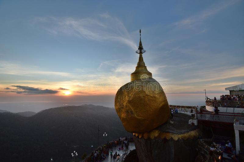 The Golden Rock at sunset. Kyaiktiyo Pagoda. Mon state. Myanmar royalty free stock photography