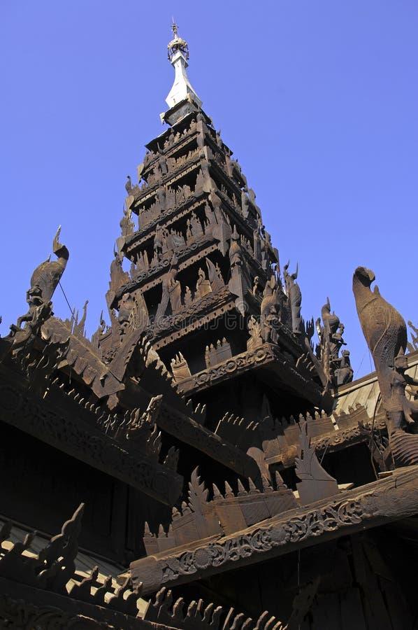 kyaung修道院缅甸salay yosqson 库存图片