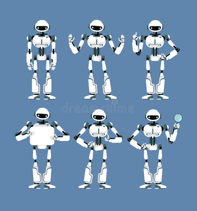 Kybernetischer Roboter Android mit den bionischen Armen und den Augen in den verschiedenen Haltungen Netter Karikatur Scifi Human stock abbildung