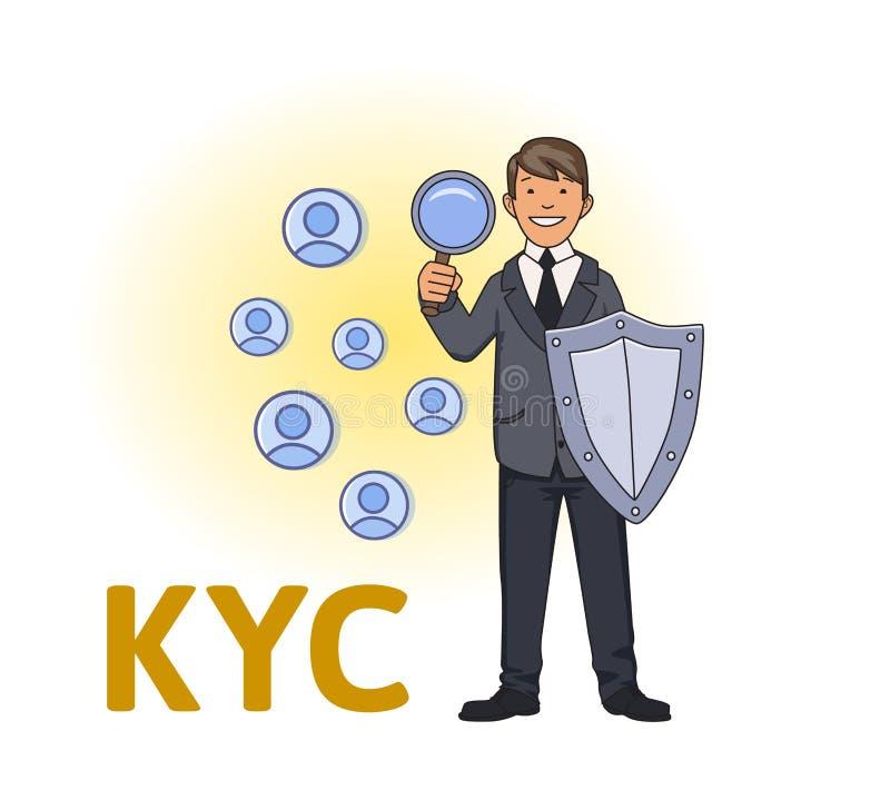 KYC,认识您的顾客 与看伙伴对是的盾的商人通过放大镜 上色 皇族释放例证