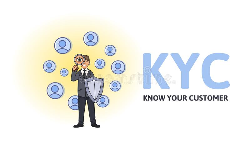 KYC,认识您的顾客 与看伙伴对是的盾的商人通过放大镜 上色 向量例证