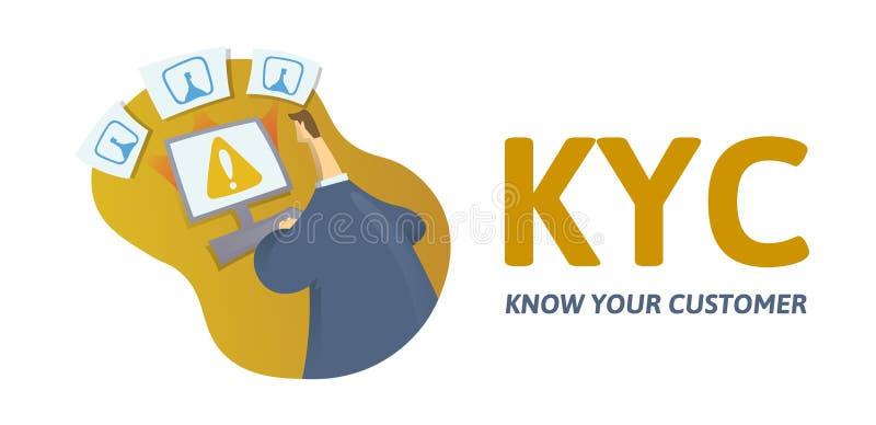 KYC, ξέρει την έννοια πελατών σας Επιχειρηματίας που ελέγχει τις πληροφορίες για το διαδίκτυο, το κείμενο και τις επιστολές Χρωμα διανυσματική απεικόνιση