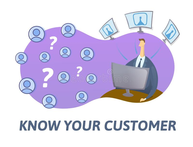 KYC, ξέρει την έννοια πελατών σας Επιχειρηματίας που ελέγχει τις πληροφορίες για το διαδίκτυο Χρωματισμένη επίπεδη διανυσματική α ελεύθερη απεικόνιση δικαιώματος