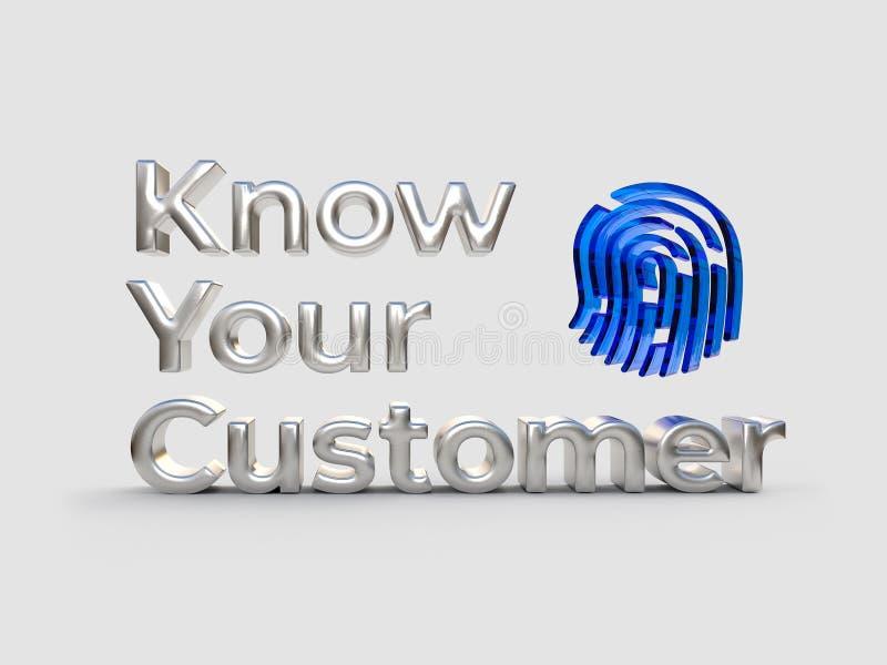 KYC -认识您的顾客文本、银色词和蓝色标志,企业概念 3d例证 库存例证