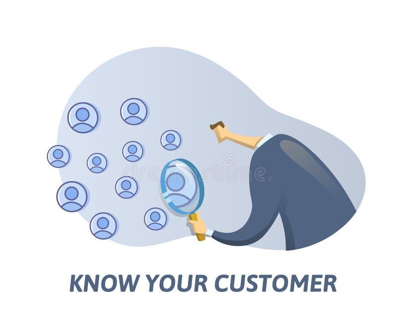 KYC, conhecem seu cliente Homem de negócios que olha sócio-à-estar através de uma lupa Vetor liso colorido ilustração stock