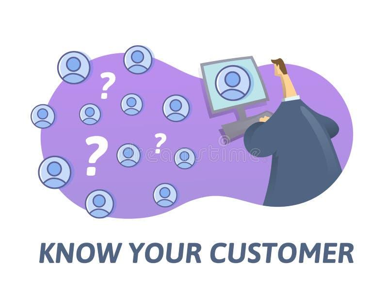 KYC, conhecem seu conceito do cliente Homem de negócios que olha o Internet sócio-à-estar Ilustração lisa colorida do vetor sobre ilustração do vetor