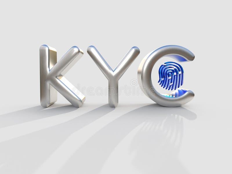 """KYC - Connaissez votre ‡ е, concept de ÐµÑƒÑ de ² du 'Ð du """"Ñ des acronymes Ñ de client d'affaires illustration 3D illustration de vecteur"""