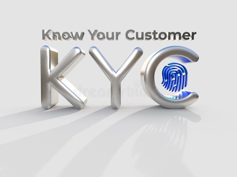 """KYC - Connaissez votre ‡ е, concept de ÐµÑƒÑ de ² du 'Ð du """"Ñ des acronymes Ñ de client d'affaires illustration 3D illustration libre de droits"""