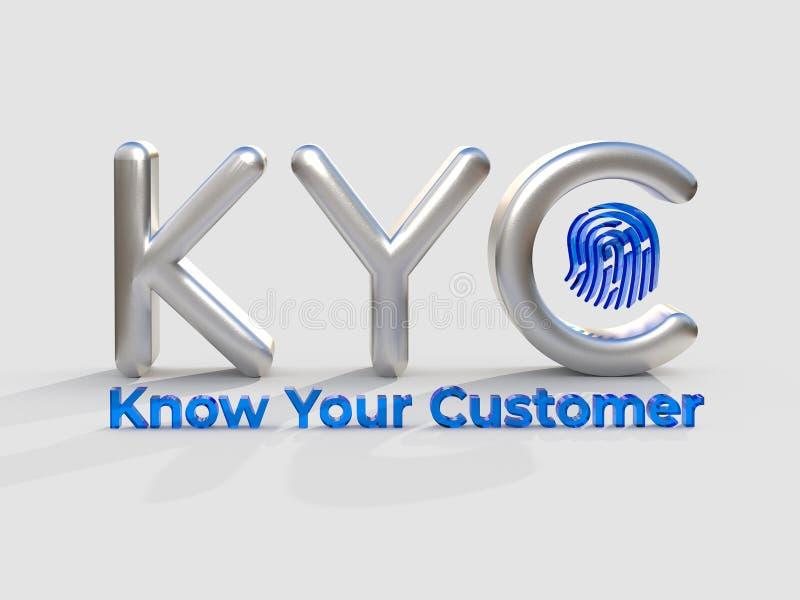 KYC - Connaissez votre acronyme de client, concept d'affaires illustration 3D illustration libre de droits