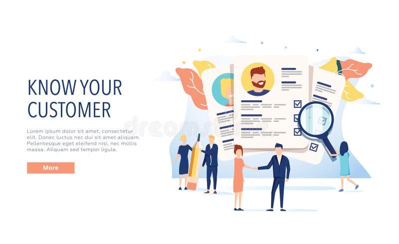 KYC, kennen Ihre Kundenvektor-Websiteschablone, Webseite und Landungsseitenentwurf für Website und beweglichen Standort lizenzfreie abbildung