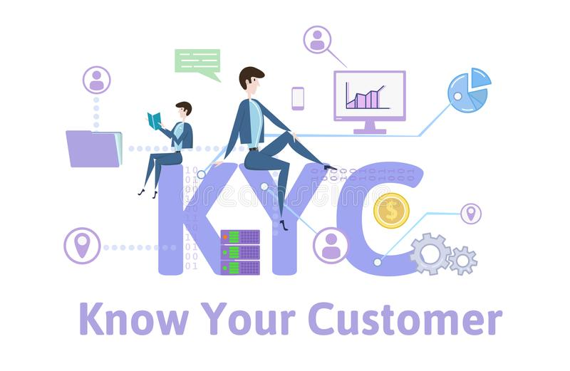 KYC, Know Your Customer. Concept table with keywords, letters and icons. Colored flat vector illustration on white. KYC, Know Your Customer. Concept with royalty free illustration