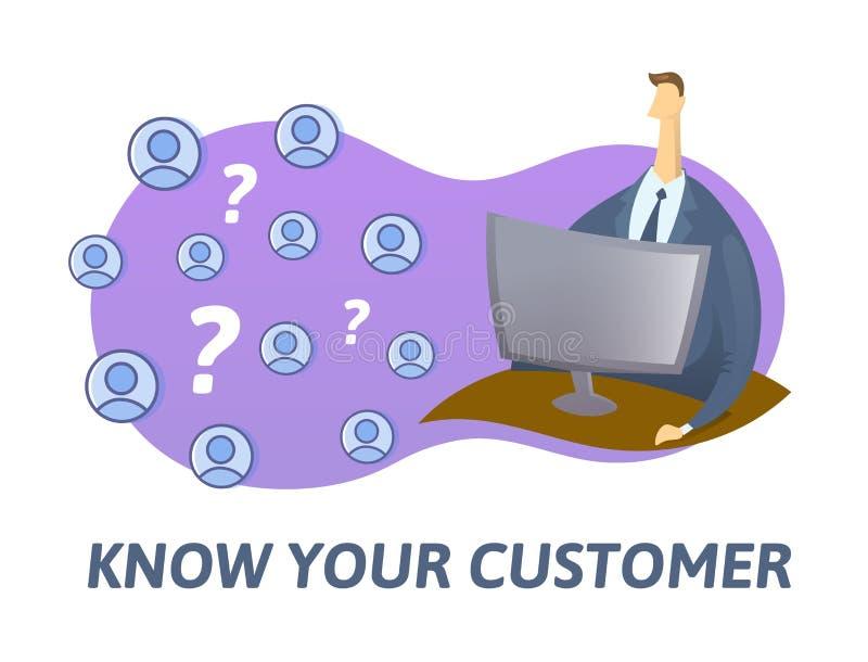 KYC vet ditt kundbegrepp Affärsman som kontrollerar information på internet Kulör plan vektorillustration på vit stock illustrationer