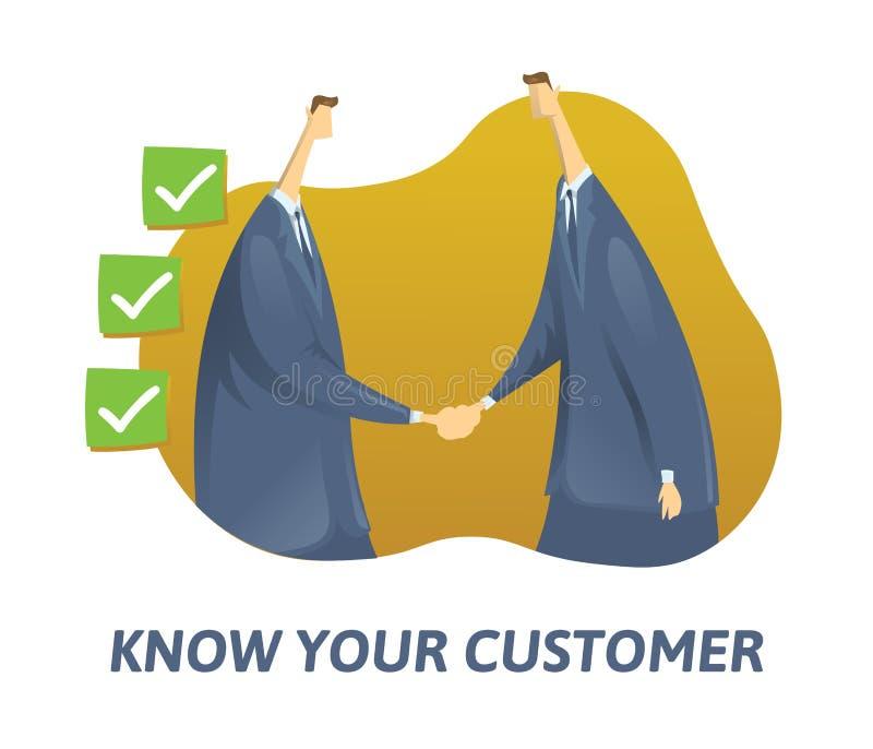 KYC, Znają Twój klienta pojęcie Biznesmeni trząść rękę i cykających pudełka Barwiona płaska wektorowa ilustracja na bielu ilustracji