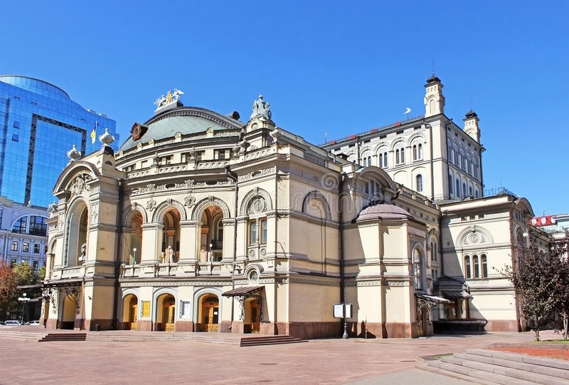 Kyiv歌剧院在乌克兰 图库摄影