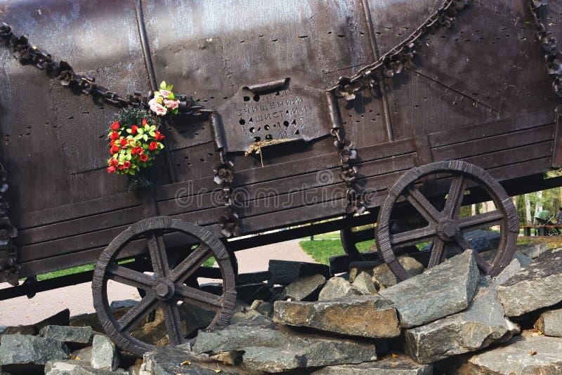 KYIV,乌克兰- 2017年9月25日:在1940-1945纪念碑`对纳粹处决的罗马人民的吉普赛无盖货车` 图库摄影