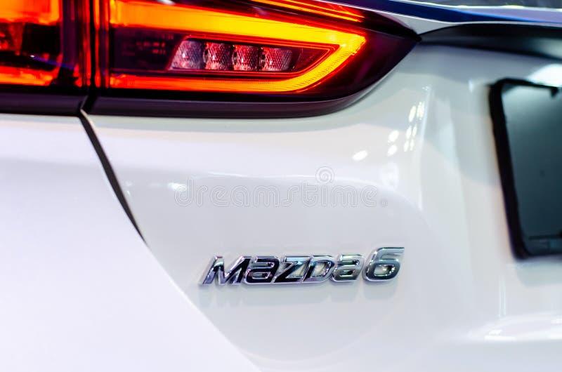 Kyiv, Ουκρανία - 12 Απριλίου 2019: Λογότυπο της Mazda 6 αυτοκίνητο στοκ εικόνα