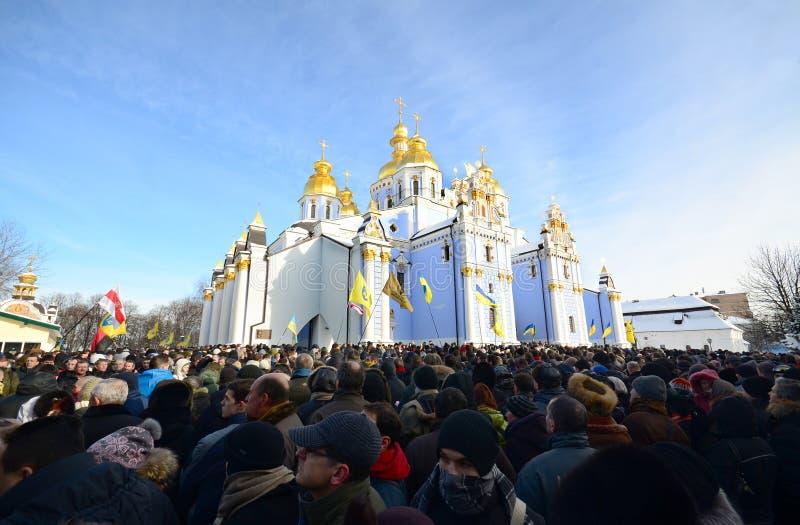 KYIV, ΟΥΚΡΑΝΊΑ – 26 ΙΑΝΟΥΑΡΊΟΥ 2014. Αναμνηστική τελετή στοκ εικόνες