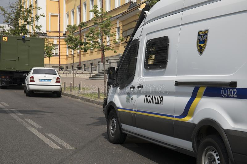 KYIV, ΟΥΚΡΑΝΊΑ - 23 Ιουλίου 2019: Αυτοκίνητα ειδικής δύναμης αστυνομίας που παρέχουν την ασφάλεια στην πόλη στοκ φωτογραφία