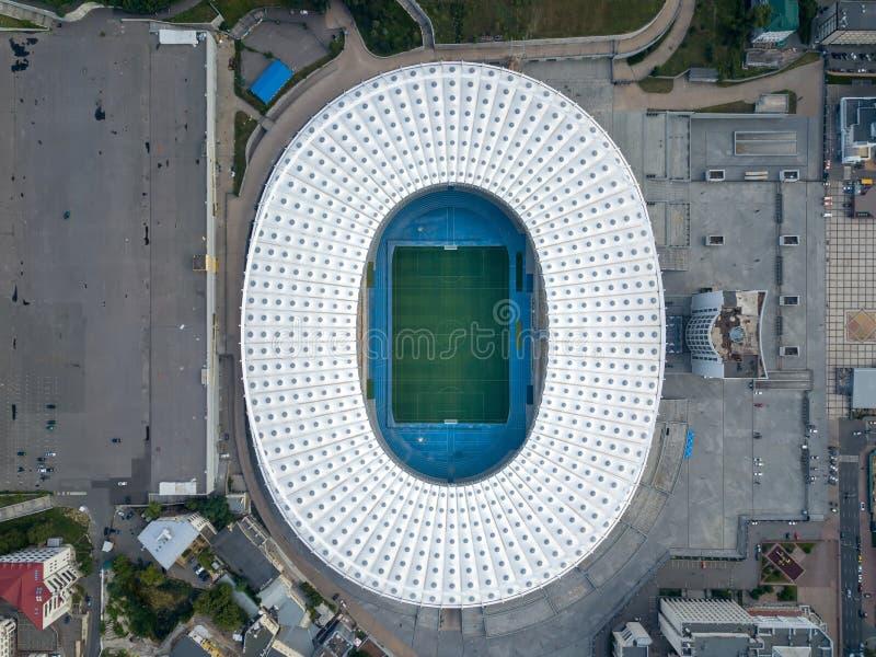 KYIV, ΟΥΚΡΑΝΊΑ - 19 Ιουλίου 2018 Πανοραμικό viev από τον κηφήνα στο στάδιο - εθνικός αθλητισμός σύνθετο NSC Olimpiysky με στοκ εικόνες