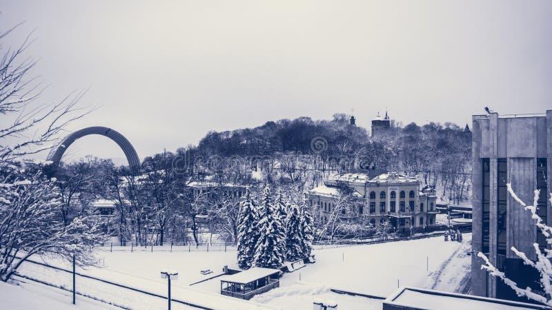 Kyiv, Ουκρανία, που εξισώνει την πόλη Εικονική παράσταση πόλης, αστική αρχιτεκτονική στοκ φωτογραφία