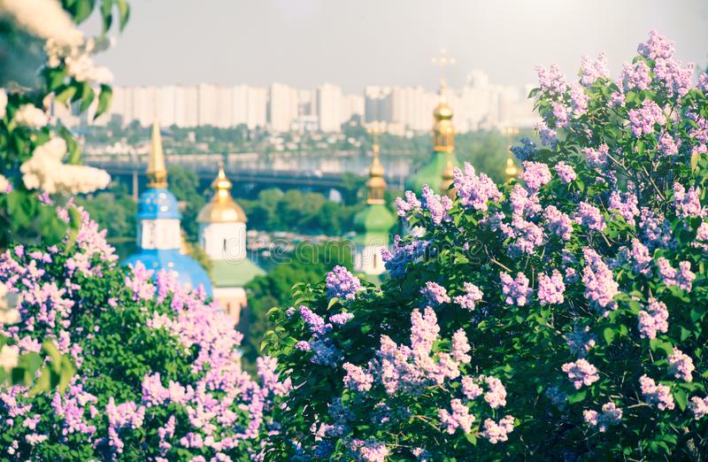 Kyiv city panoramic view with blooming lilac flowers and Orthodox churches on the banks of Dnipro River  Dnieper . Kiev in sprin. G. Ukraine, Eastern Europe royalty free stock photography