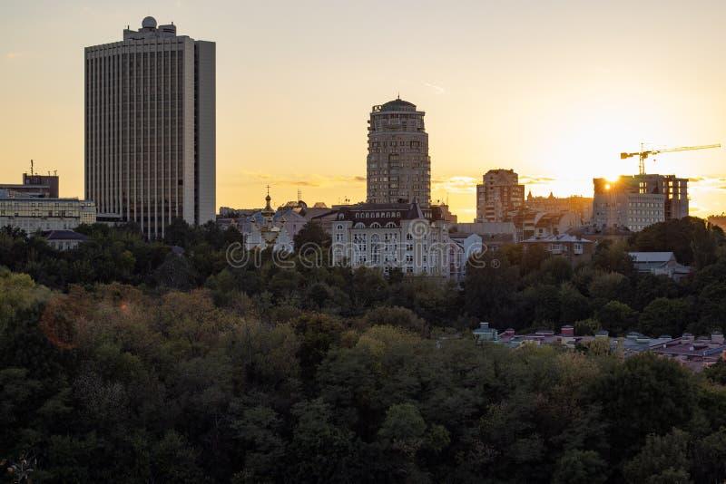 Kyiv city Urban Sunset Landscape view. Podil royalty free stock photos