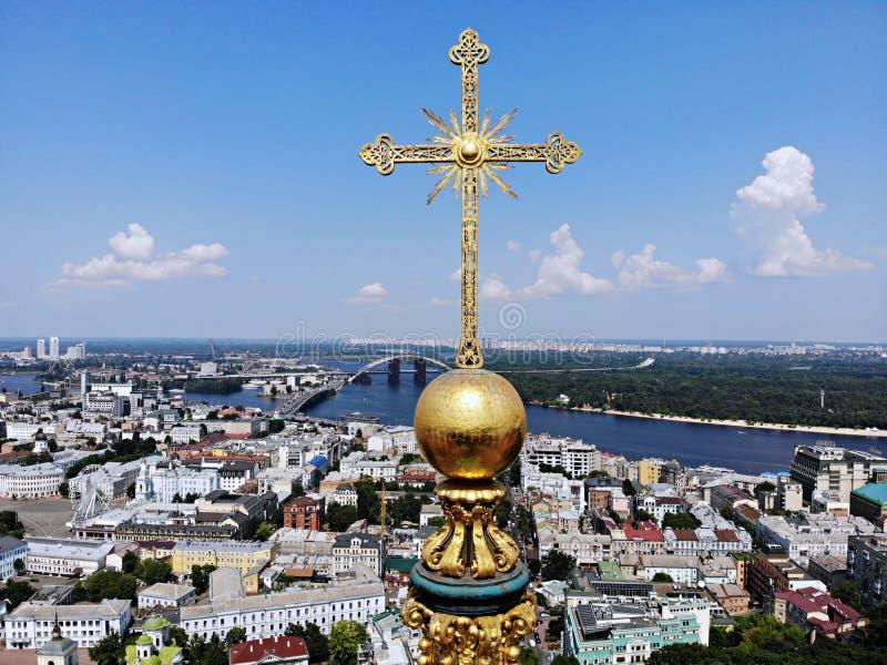 Kyiv - de hoofdstad van de Oekraïne luchtfotografie van hommel Verbazend land met grote en lange geschiedenis Europees land ST royalty-vrije stock afbeelding