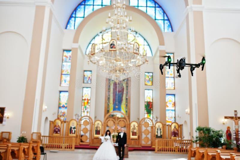 Kyiv, de Oekraïne - Augustus 31: DJI inspireert Prohommel quadcopter reco stock afbeelding