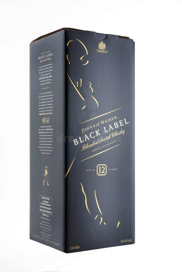 Kyiv, de Oekraïne - mag, 2019 Doos Schotse whisky Johnnie Walker Black Label royalty-vrije stock afbeelding