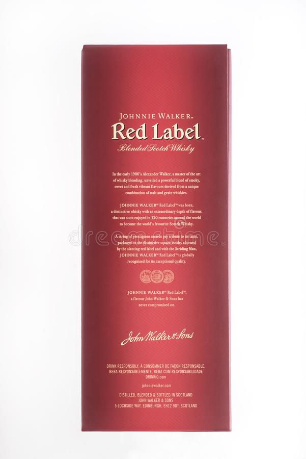 Kyiv, de Oekraïne - mag, 2019 Doos Schotse whisky Johnnie Walker Red Label royalty-vrije stock fotografie