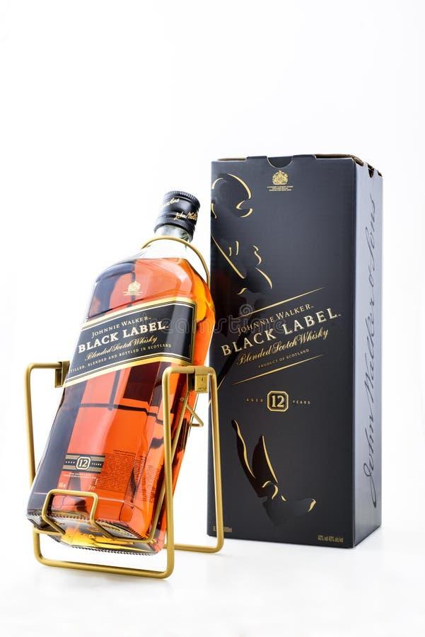 Kyiv, de Oekraïne - mag, 2019 Fles Schotse whisky Johnnie Walker Black Label 3000 ml stock fotografie