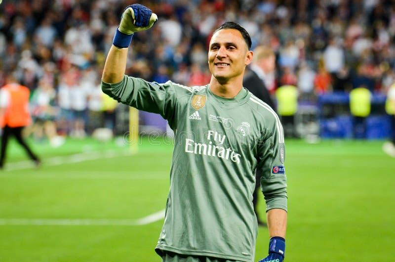 KYIV, DE OEKRAÏNE - MEI 26, 2018: Keylor Navas van Real Madrid celebr stock foto's
