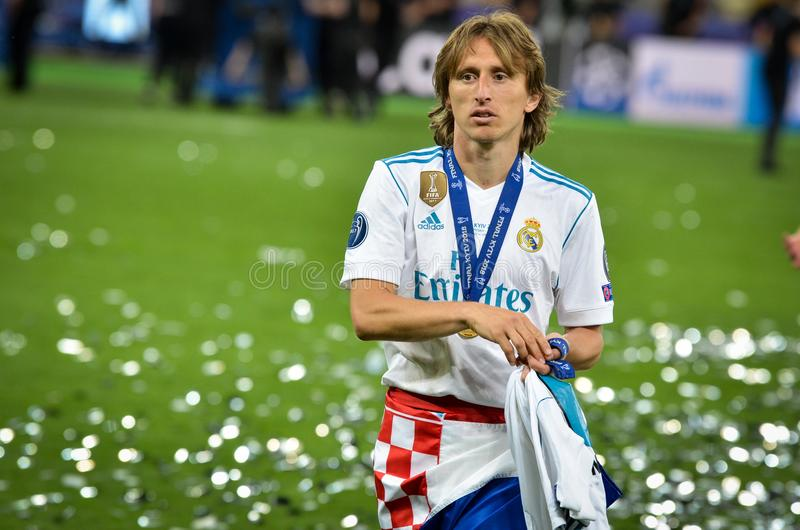 KYIV, DE OEKRAÏNE - MEI 26, 2018: Luka Modric van Real Madridcelebra royalty-vrije stock foto's