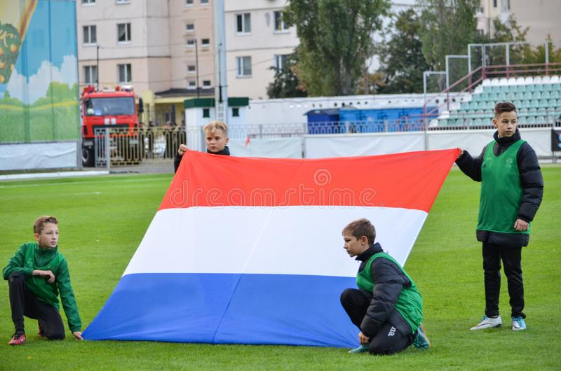 KYIV, de OEKRAÏNE - Oktober 10, 2017: Vlag van Nederland tijdens royalty-vrije stock afbeeldingen