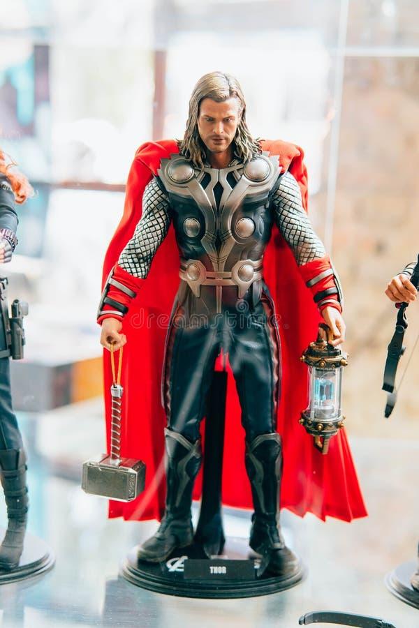 KYIV, DE OEKRAÏNE - SEPTEMBER 9, 2018: Chris Hemsworth als Thor figur stock afbeeldingen