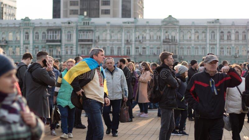 Kyiv, de Oekra?ne 19 april 2019 Het Presidenti?le Debat 2019 van RE Het Stadion van Kyivolympiyskiy stock fotografie