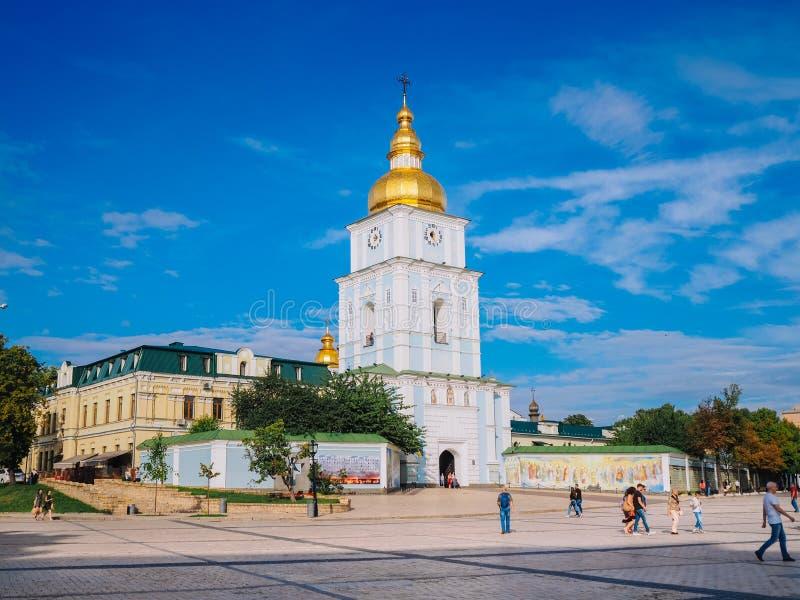 Kyiv Huvudstad av Ukraina Sommar 2018 Guld--kupolformig kloster för St Michael ` s arkivbild